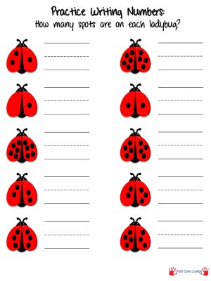 Number-Writing practice.  Have children practice writing numbers by counting the number of spots on each ladybug.