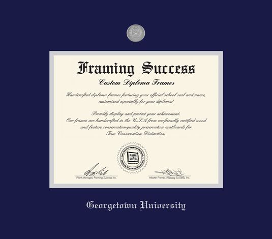 Custom Diploma Frames & Certificate Frames - Framing Success: Blue and Silver Double Mat with Silver Medallion and School Embossing