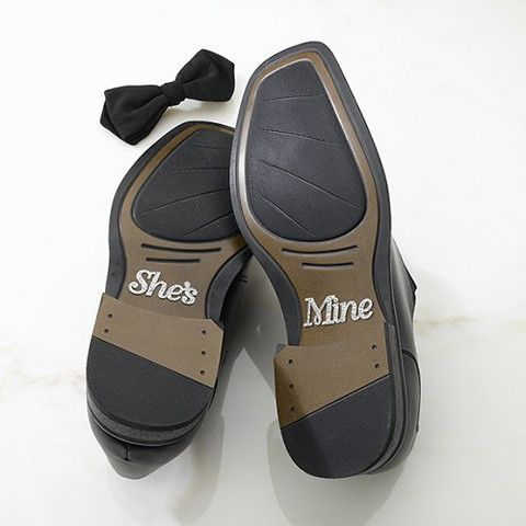 'She's Mine' Wedding Shoe #Stickers - We love these because the when the groom kneels down during the ceremony, the wedding crowd can all read the soles of his shoes!  Cute #Wedding Eseentials By Cadeaux - Cadeaux.ie