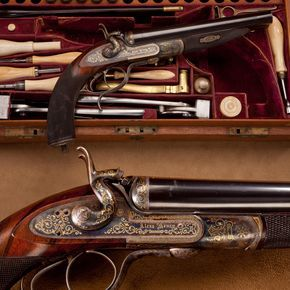 Alexander Henry Howdah Pistol - Hunters in India after dangerous game employed an elevated platform, or howdah, mounted on the back of an elephant.  As final defense if a tiger were to claw its way to the hunter up the back of the elephant, the howda pistol, a heavy caliber single or double-barreled pistol was available.  This gold-embellished .577 Snyder cal. example is one of the finest known. At the NRA National Firearms Museum in Fairfax, VA