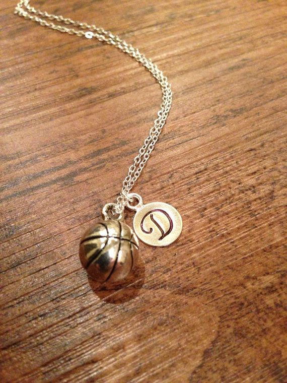 Basketball initial necklace by kimsjewelry on Etsy, $16.00