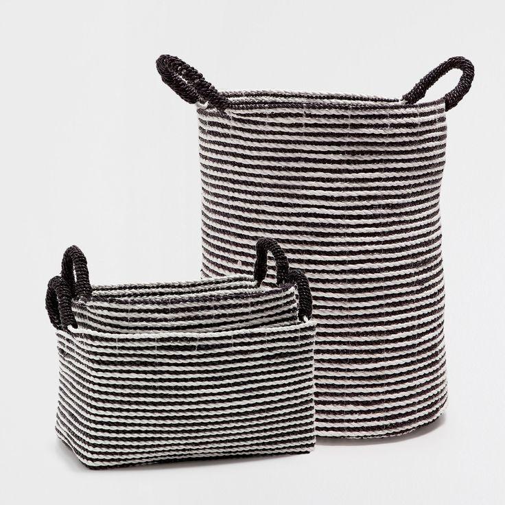 BLACK AND WHITE STRIPED BASKET WITH HANDLES - Baskets - Decoration | Zara Home United Kingdom