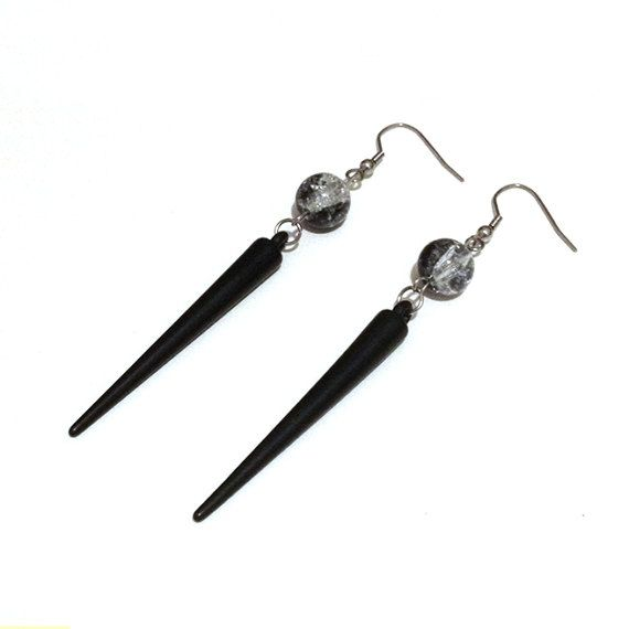 Black Acrylic Spike Earrings with Crackle Glass Beads by Pornoromantic