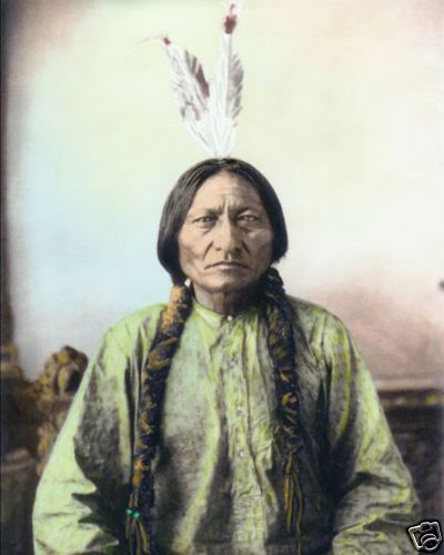 "SITTING BULL NATIVE AMERICAN SIOUX INDIAN 1884 8x10"" HAND COLOR TINTED PHOTO #ebaycollections"