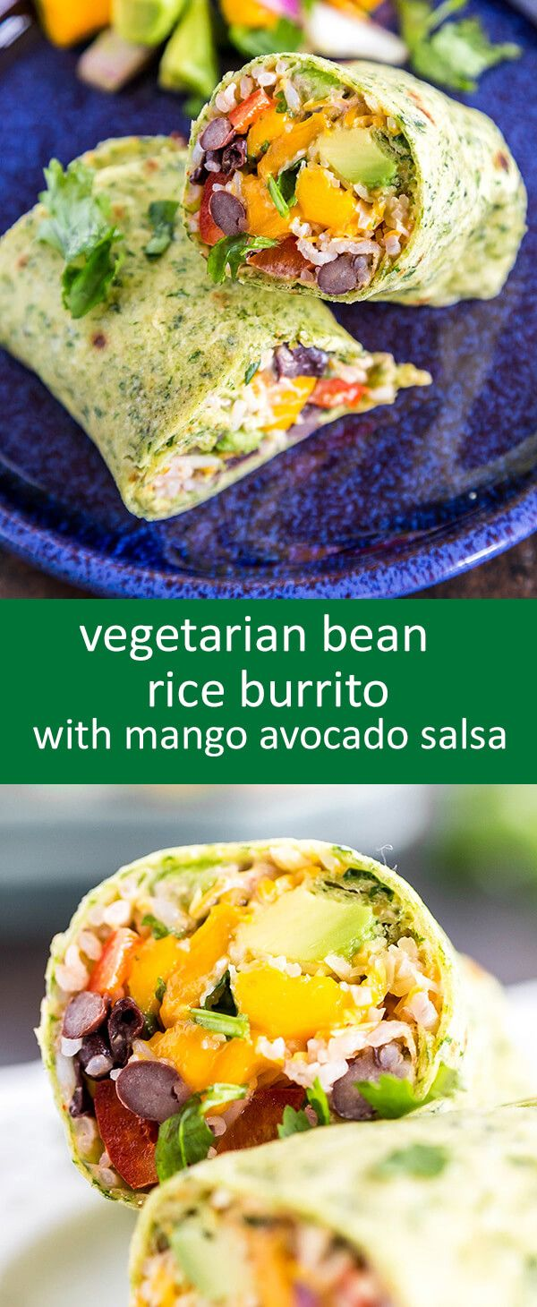 Vegetarian Burritos with beans, rice, chipotle chili sauce and mango avocado…