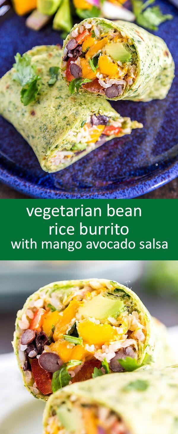 Vegetarian Burritos with beans, rice, chipotle chili sauce and mango avocado…