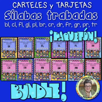 This was a Growing Bundle of the consonants L and R blends in SPANISH or ¡Paquetón! CARTELES y TARJETAS de sílabas trabadas en palabras con l y r: (bl, cl, fl, gl, pl, br, cr, dr, fr, gr, pr, y tr) en ESPAÑOL The Bundle! is now COMPLETE! ♦ If you have purchased any of these SPANISH sílabas trabadas (BLENDS) individually, THEY ARE THE SAME ♦ The Bundle price is $19 which is a great value saving $11 over