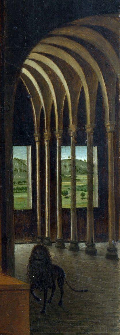 Antonello da Messina (1430–1479) - Saint Jerome in his Study ,ca. 1474 - 1475,detail. https://fr.wikipedia.org/wiki/Saint_J%C3%A9r%C3%B4me_dans_son_%C3%A9tude_(Antonello_de_Messine) (417×1164)