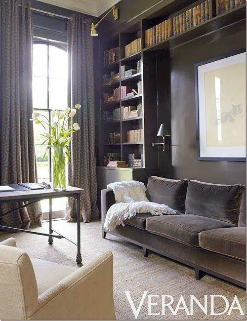 Ann Holden Neutral Transitional Cozy Office/den  Warm Grey Walls, Velvet  Sofa, Built In Bookshelves