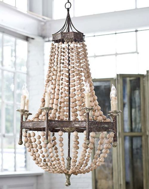 "Scalloped Wood Bead Chandelier 26.5"" x 46""h colors nice withDash & Albert rug"