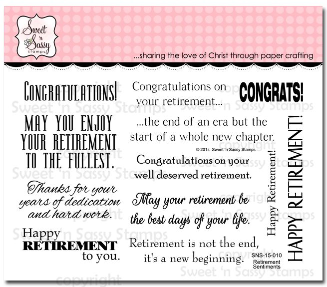 Sweet 'n Sassy Stamps - Retirement Sentiments, $15.95 (http://www.sweetnsassystamps.com/retirement-sentiments/)