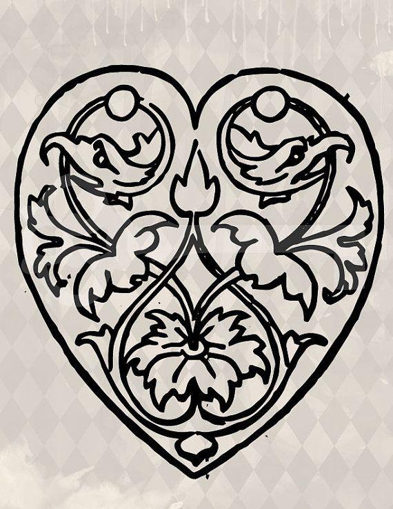 Vintage ornate heart Image digital download by TanglesGraphics, $1.00