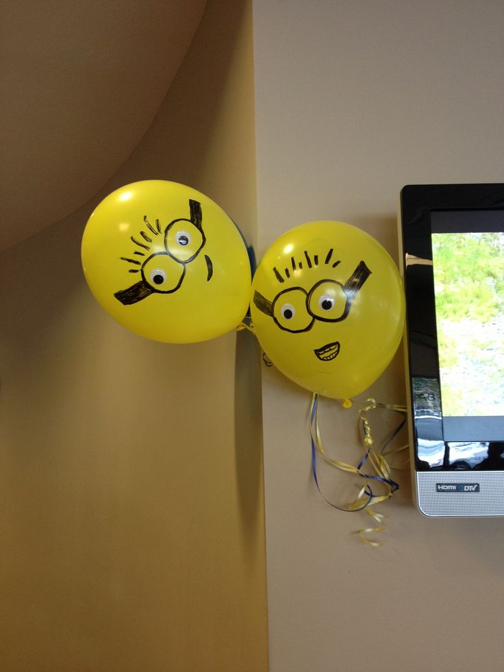 Despicable me birthday - yellow balloons with colored sharpies (not like pictured though)