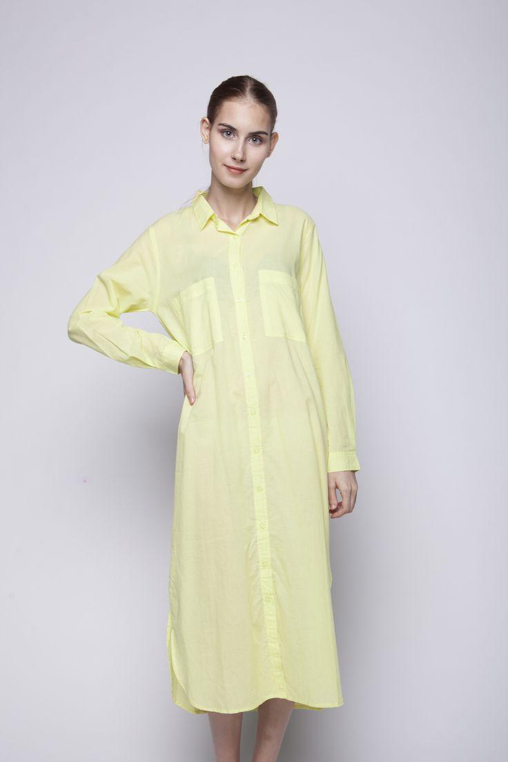 Jenara Shirt Dress Yellow   Rp 221.250