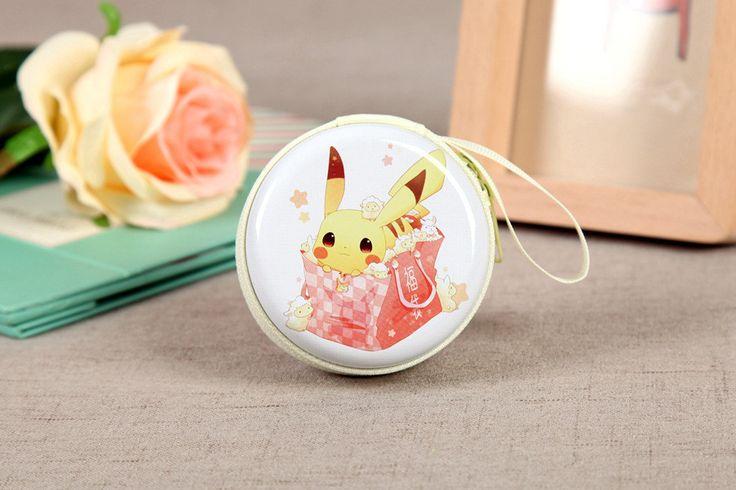 Cute Lovely Pikachu Coin Purse Pokemon Pikachu Wallet Cartoon Creative Zipper Portable Scale Circular Coin Bags CB0045