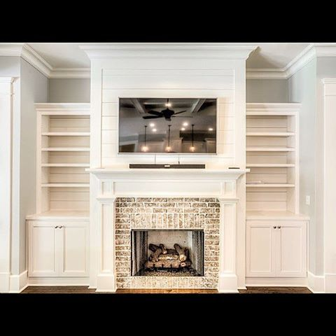white cabinetry white shiplap fireplace brick - Fireplace Design Ideas