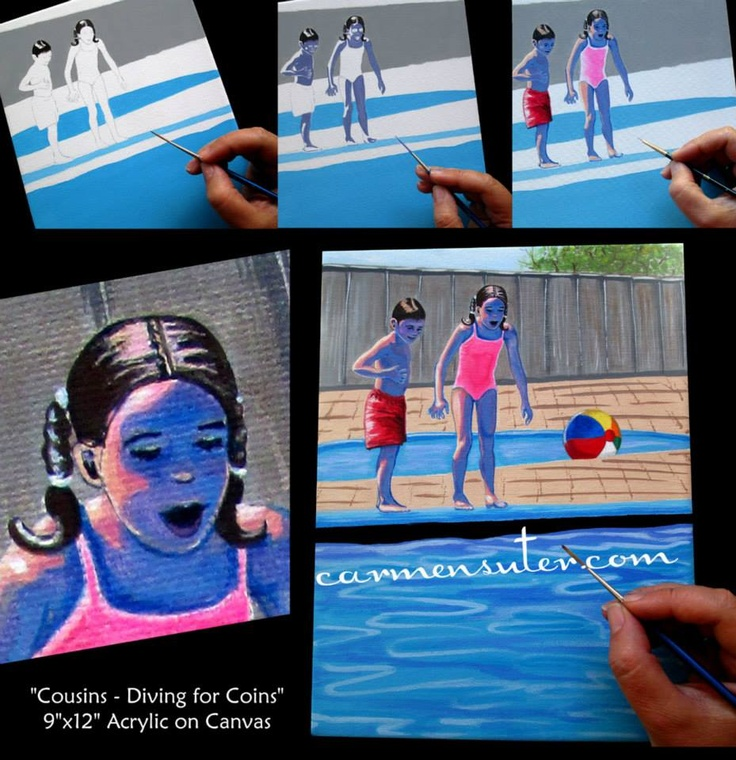 """Cousins-Diving for Coins"" by  Carmen Suter-Whimsical Artist  www.carmensuter.com"