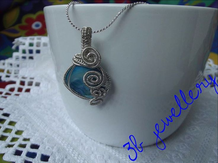 #silver and #turquoise #pendant for #every #day - silver #plated #wire with #turquoise #bead #3bjewellery #wirewrapping #intermediate
