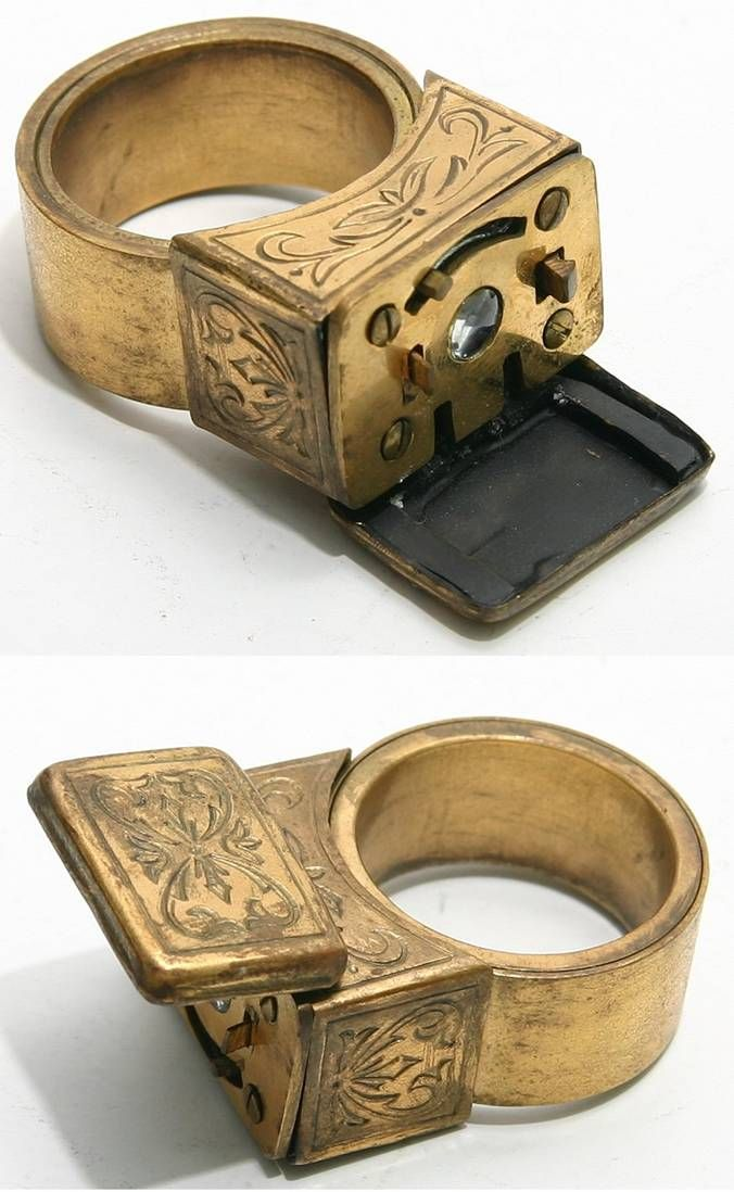 KGB ring         Used for spy purposes, and discrete picture taking. This ring uses film around the finger, and has a high definition lens.    Frame is advanced by top lever which also cocks the shutter.    Single speed, single diaphragm and fixed focusing. Optical front disguised by front cover.
