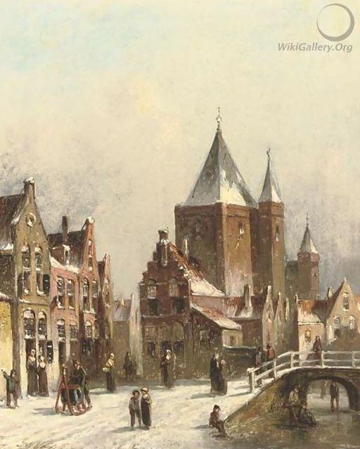 Petrus Gerardus Vertin - Winters gezicht op een besneeuwde straat in Haarlem (1)
