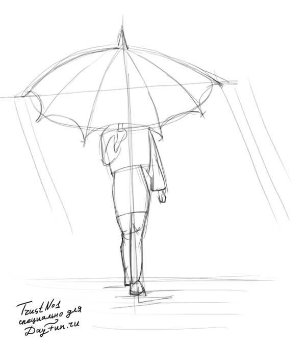 Девушка под дождем картинки карандашом, днем бабушек картинки