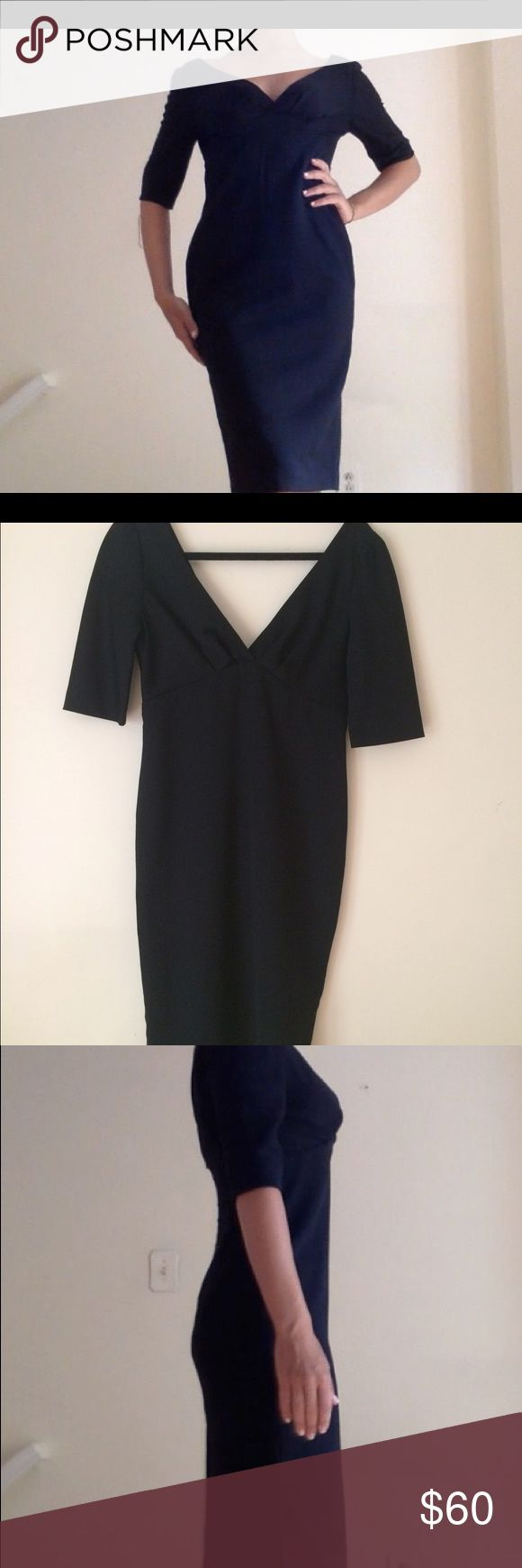 24 Hr sale! Massimo Dutti black wool dress Sz S Black, double V, sleeves fall to elbow, skirt falls to knee. Worn once. Size Small (2-4, errs to 4.) Make an offer! Massimo Dutti Dresses Midi
