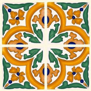Hand-painted Spanish ceramic tile from the Barcelona collection -- San Jose Quarter tile