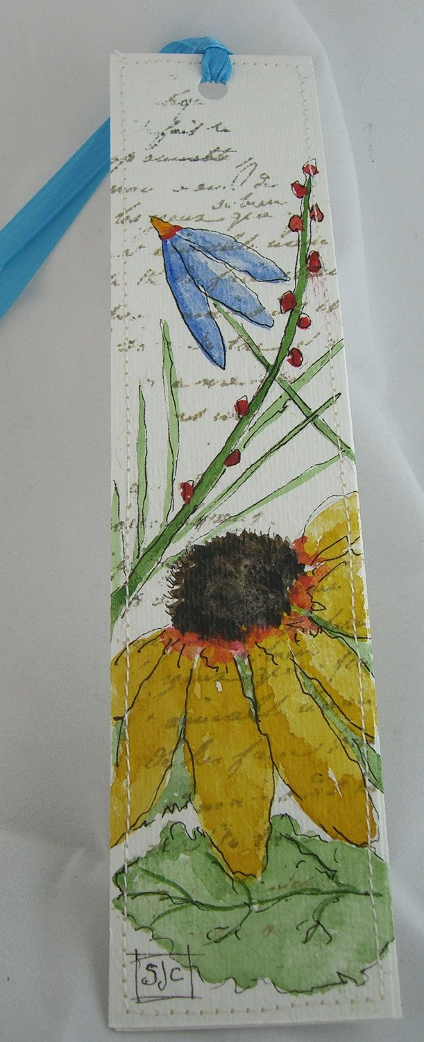 Watercolor Floral Bookmark by ( mixed flowers E).  by Sharon J Chapman via Etsy.