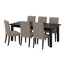 IKEA - STORNÄS / HENRIKSDAL, Table and 6 chairs, Extendable dining table with two extra leaves seats 6-10, so you can quickly and easily adapt the table to your needs.Solid pine; a natural material that ages beautifully.