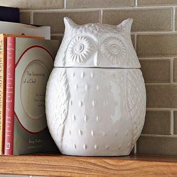 Owl Cookie Jar from West Elm: Westelm, Idea, Owl Cookie Jars, Owl Cookies Jars, Decoration, Kitchens Countertops, Things, White Owl, West Elm