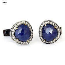 18k Gold Gemstone Diamond Pave Vintage Cufflinks 925 Sterling Silver New Jewelry