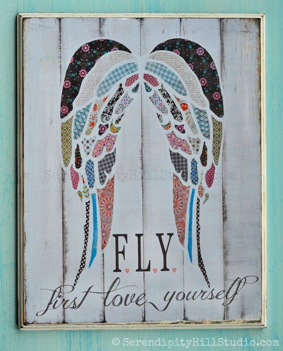 2D 11x14 print on WOOD, Angel wings collage, girls typography, kids art, playroom print, wall letters, shabby chic art, vintage sign