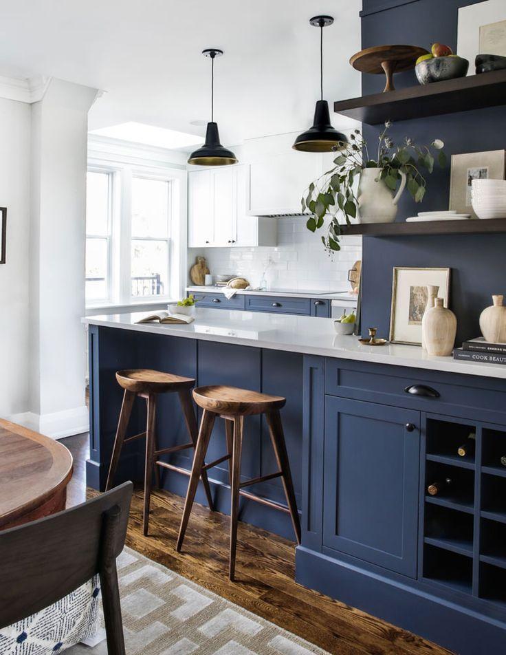 20 Modern Farmhouse Kitchen Ideas For Your Next Reno Blue Kitchen Designs Blue Kitchen Cabinets Navy Blue Kitchen Cabinets