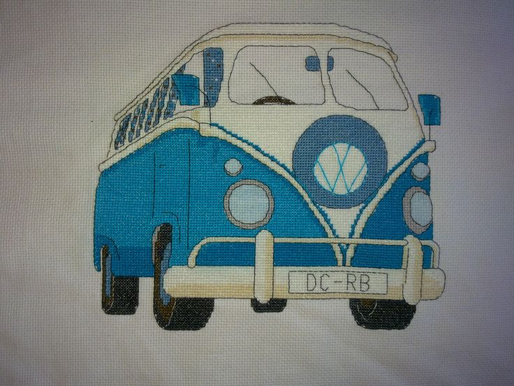 a commissioned piece for a friend. vw camper van cross stitched in bright blue.