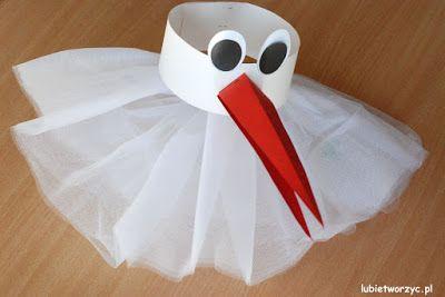 Przebranie bociana (nr 1) - papierowa opaska na głowę i tiulowa spódniczka (całość w wersji DIY)