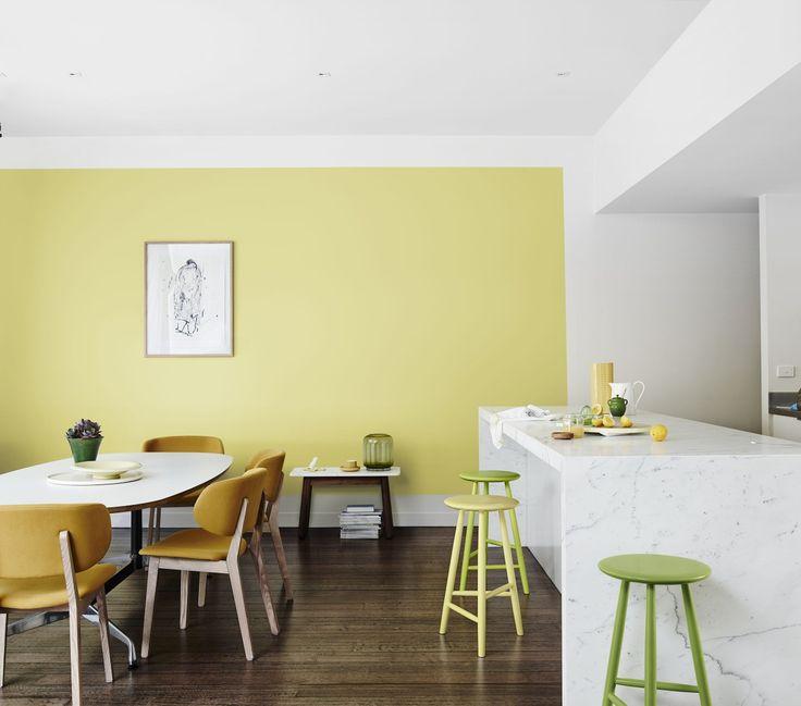 Fresh Interior - Get the Look, Dulux Paint #citrino #rainforestglow #vividwhite