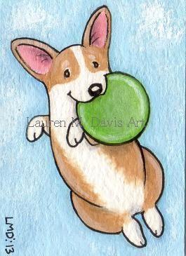 Pembroke Welsh Corgi Dog Frisbee ATC ACEO For SALE Lauren M. Davis Art Painting