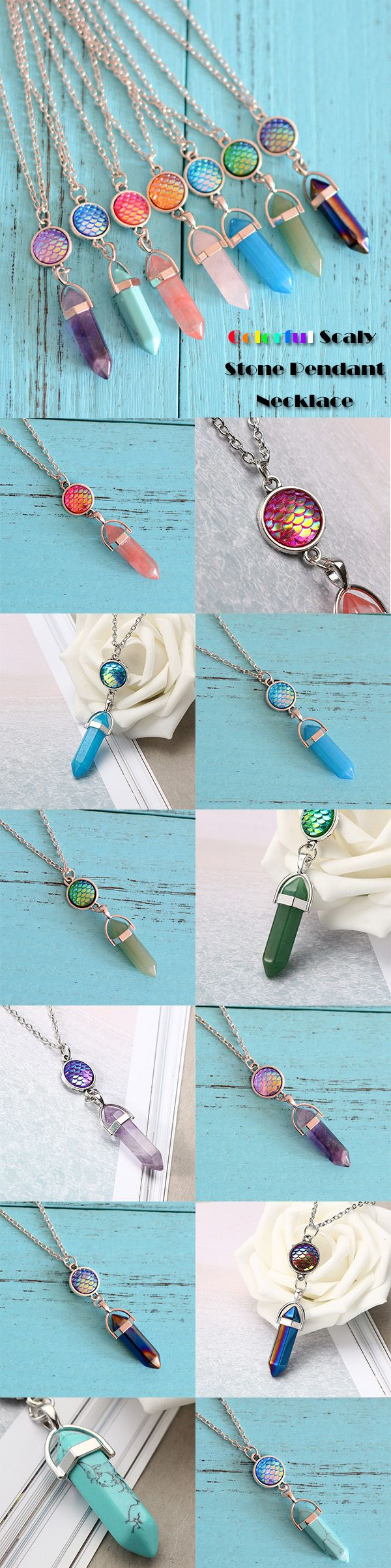 Women's Long Chain Turquoise Natural Stone Colorful Scaly Pandent Silver Necklace