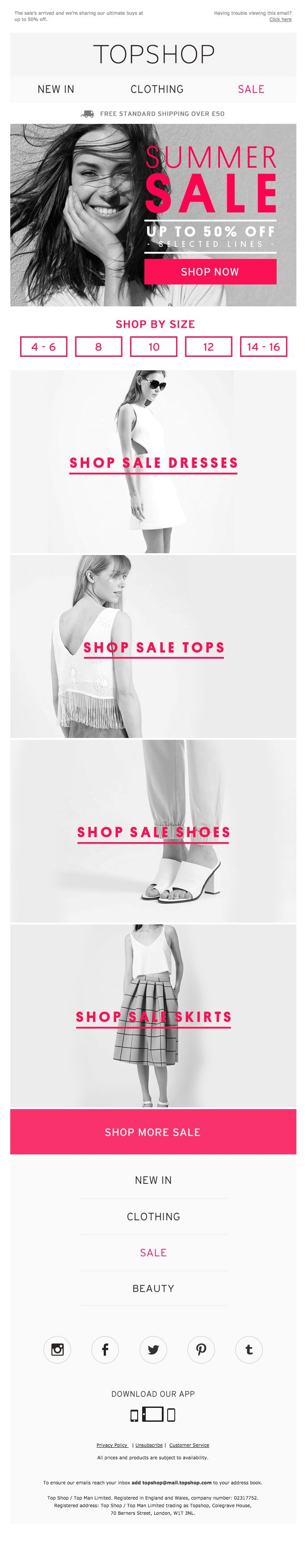 Topshop  Sale Email