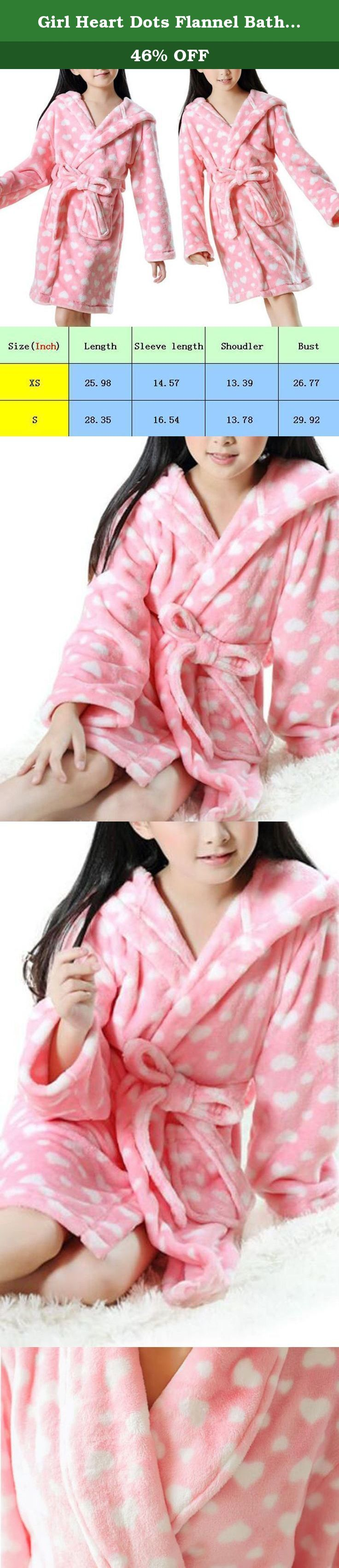 Girl Heart Dots Flannel Bath Robe Children Homewear Pajamas (S, style-1). Girl Heart Dots Flannel Bath Robe Children Homewear Pajamas use flannel material,wearing more close skin, fine workmanship, not ball, don't rub off. We have detailed size in our product picture, please choose the size according to ourselves' size chart. The size may be smaller than normal, please choose the bigger size than normal. Please allow little color difference due to different camera or lightenvironment…
