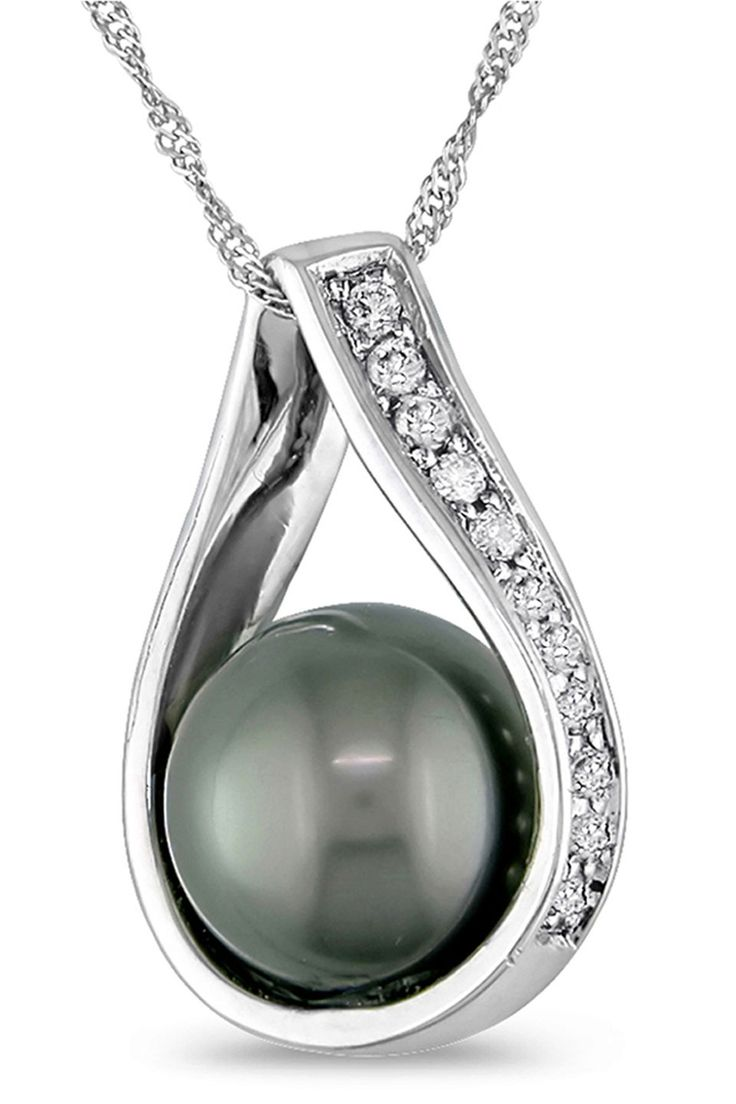 Tahitian Pearl & White Gold Pendant Necklace.