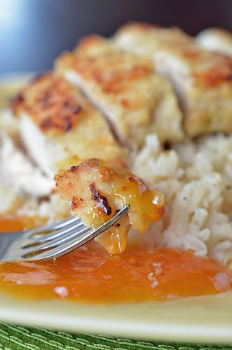 Coconut Chicken with Apricot Sauce Printable Recipe Yield: 4 servings 1 egg
