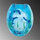 Blue Toilet Seat Chrome Polymer, Dolphins Swim Round Toilet Seat