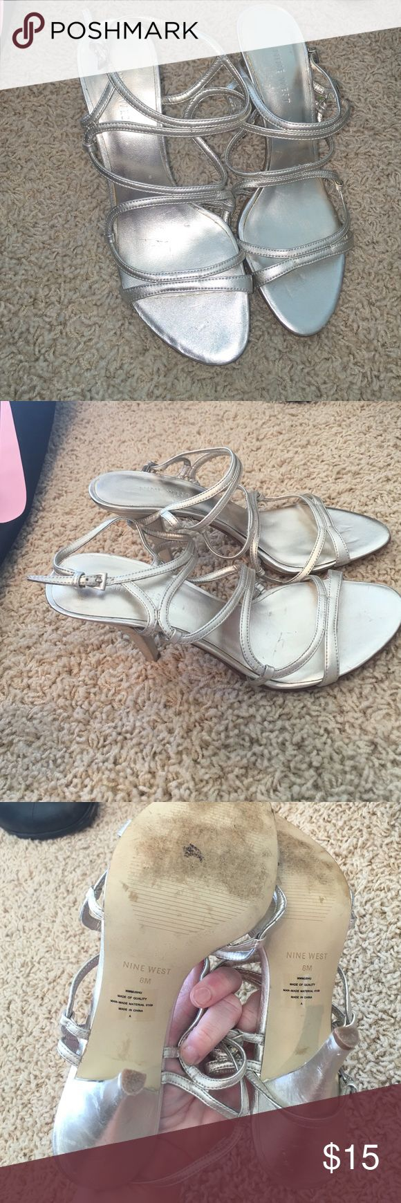 """Nine West 1"""" Heel Gold Strappy Sandals Please see pics for slight damage. Still very pretty! Lots of life left. Very comfy.. Wore once.. They've just been thrown around from closet to closet. Downsizing :) 7.5 fits true to size Nine West Shoes Sandals"""