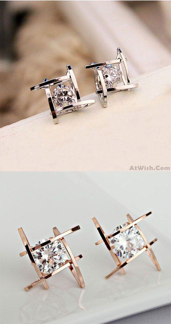 e8a262bdd8d58 Fresh Unique Tic Tac Toe Triangle Zircon Women Earrings Studs only ...