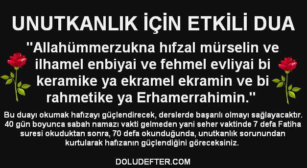 Unutkanlık Duası ve Türkçe Anlamı