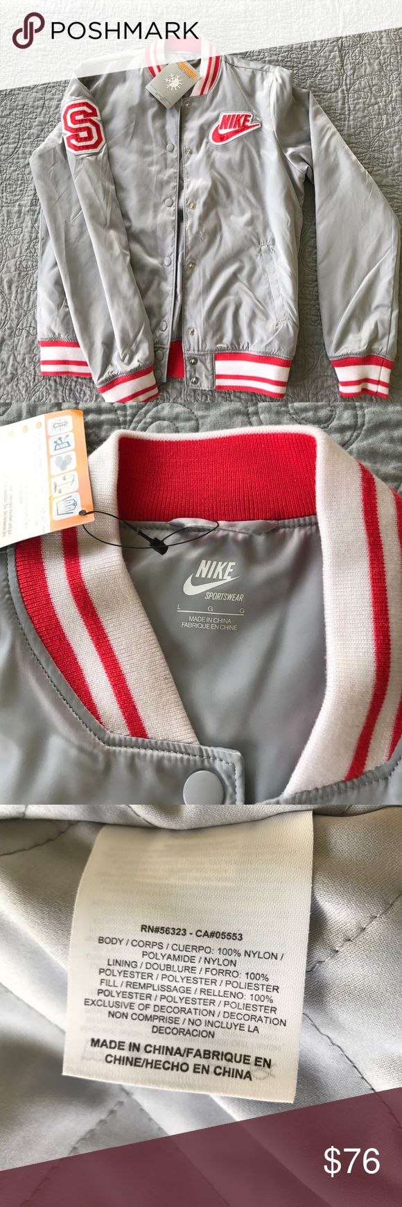 Nike varsity jacket NWT. Grey and Red. NWT! All reasonable offers considered 🌺 This is a brand new never worn retro varsity jacket. Thermore insulated and quilted lining, so can be worn in milder winter weather. Full snap, no zippers. Nike Jackets & Coats Bomber & Varsity