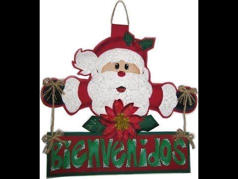 bienvenido navideño en foami, navidad en foami, adornos navideños en foami, christmas crafts - YouTube