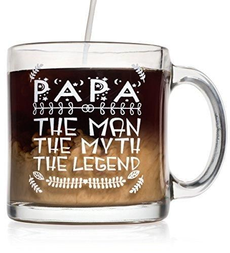 Papa 13 oz Glass Coffee Mug - Perfect Father's Day Gift for Dad Husband or Grandpa - Unique Gifts for Men - Cool Novelty Gifts for Father Dad Grandpa - Birthday Gifts for Him Dad Men Father