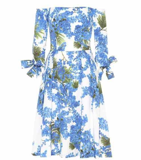 Printed off-the-shoulder dress   Carolina Herrera
